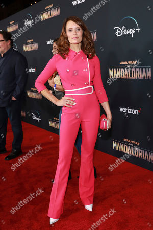"""Emily Swallow attends the LA Premiere of """"The Mandalorian"""" at the El Capitan theatre on in Los Angeles"""