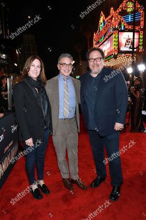 "Kathleen Kennedy, Ricky Strauss, Jon Favreau. Kathleen Kennedy, from left, Ricky Strauss, and Jon Favreau attends the LA Premiere of ""The Mandalorian"" at the El Capitan theatre on in Los Angeles"