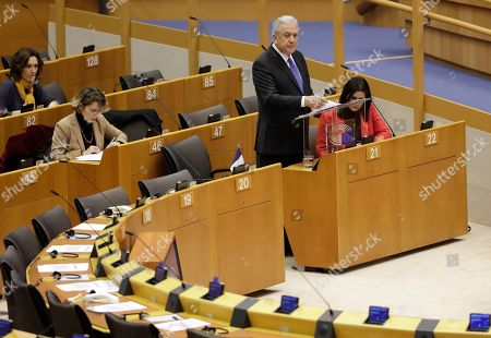 Dimitris Avramopoulos, European Commissioner for Migration, Home Affairs and Citizenship, delivers his speech on the second day of a 'mini-plenary' session in Brussels, Belgium, 14 November 2019. Members of the European Parliament (MEPs) gathered in Brussels for Committee meetings and Plenary Sessions debating the migrants situation's in Bosnia as well as in Greek islands' hotspots.