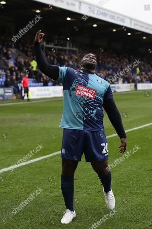 Stock Image of Adebayo Akinfenwa of Wycombe Wanderers celebrates scoring his sides first goal