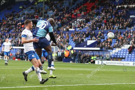 Adebayo Akinfenwa of Wycombe Wanderers scores his sides first goal