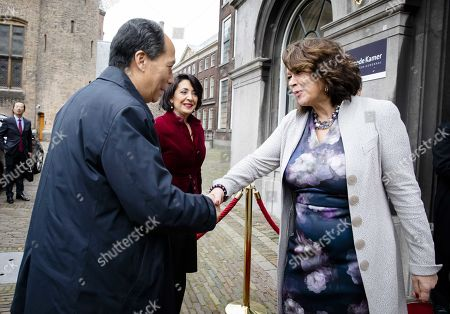 Ji Bingxuan (L), the Vice-President of the Chinese Parliament, is welcomed by the  Speaker of the House of Representatives of the Netherlands (lower house of parliament) Khadija Arib (C) and Jopie Nooren (L), the Vice-President of the First Chamber (upper house of parliament), during a visit to the States General in the House of Representatives in The Hague, The Netherlands, 14 November 2019. The visit is intended to underline the good mutual relationships between the Netherlands and China.