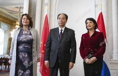 Ji Bingxuan (C), the Vice-President of the Chinese Parliament, poses for the media with Speaker of the House of Representatives of the Netherlands (lower house of parliament) Khadija Arib (R) and Jopie Nooren (L), the Vice-President of the First Chamber (upper house of parliament), during a visit to the States General in the House of Representatives in The Hague, The Netherlands, 14 November 2019. The visit is intended to underline the good mutual relationships between the Netherlands and China.