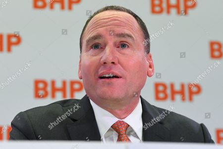 BHP Chairman Ken MacKenzie speaks during a press conference at BHP headquarters in Melbourne, Victoria, Australia, 14 November 2019. BHP chief executive Andrew Mackenzie will retire as boss of the world's biggest miner at the end of 2019, when insider Mike Henry will take the reins.
