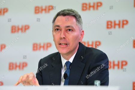 BHP CEO-Elect Mike Henry speaks during a press conference at BHP headquarters in Melbourne, Victoria, Australia, 14 November 2019. BHP chief executive Andrew Mackenzie will retire as boss of the world's biggest miner at the end of 2019, when insider Mike Henry will take the reins.