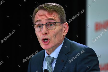 Stock Image of BHP chief executive Andrew Mackenzie speaks during a press conference at BHP headquarters in Melbourne, Victoria, Australia, 14 November 2019. BHP chief executive Andrew Mackenzie will retire as boss of the world's biggest miner at the end of 2019, when insider Mike Henry will take the reins.