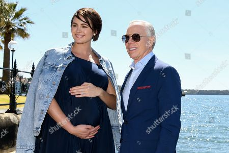 Model Jesinta Franklin and US designer Tommy Hilfiger pose for a portrait at the Park Hyatt in Sydney, New South Wales, Australia, 14 November 2019. The iconic US designer is in Sydney as part of his first ever tour of Australia.