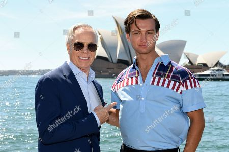 US designer Tommy Hilfiger and model Cameron Robbie pose for a portrait at the Park Hyatt in Sydney, New South Wales, Australia, 14 November 2019. The iconic US designer is in Sydney as part of his first ever tour of Australia.