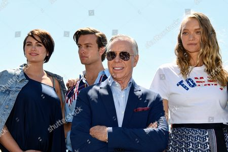 (L-R) Models Jesinta Franklin, Cameron Robbie, US designer Tommy Hilfiger and Gemma Ward pose for a portrait at the Park Hyatt in Sydney, New South Wales, Australia, 14 November 2019. The iconic US designer is in Sydney as part of his first ever tour of Australia.