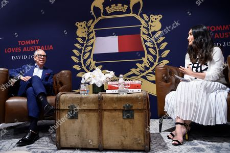 US designer Tommy Hilfiger and Editor-in-Chief of JONES Magazine Justine Cullen are seen during a fan meet and greet at David Jones Elizabeth Flagship store in Sydney, New South Wales, Australia, 14 November 2019. The iconic US designer is in Sydney as part of his first ever tour of Australia.