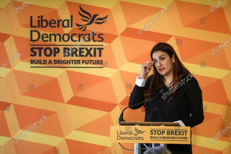 Luciana Berger gives an emotional speech at Glaziers Hall, London for the Lib Dems Press Conference.