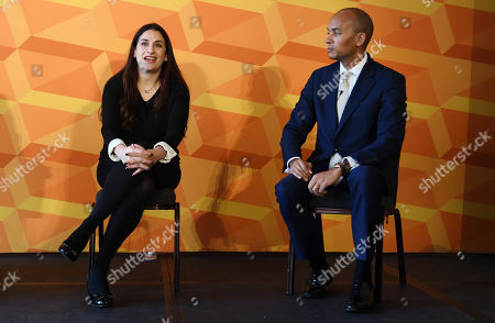 Liberal Democratic Party member Chuka Ummuna (R) with Luciana Berger (L) as they outline their party's equalities and human rights policy in London, Britain, 14 November 2019. Britons go the polls on 12 December in a general election.