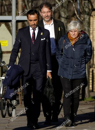 Former Catalan education minister Clara Ponsati (R) arrives with her lawyer Aamer Anwar (L) to hand herself in at a police station in Edinburgh, Scotland, Britain, 14 November 2019. Spain submitted an extradition request for ponsati as she is charged with sedition after Catalonia's independence referendum in 2017.