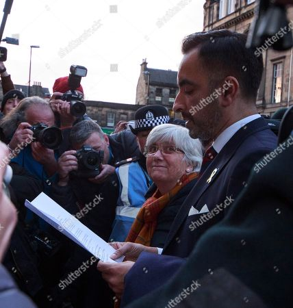 Former Catalan education minister Clara Ponsati (2-R) and her lawyer Aamer Anwar (R) leave Edinburgh Sheriff Court in Edinburgh, Britain, 14 November 2019.  Ponsati was granted bail and allowed to keep her passport, according to media reports.