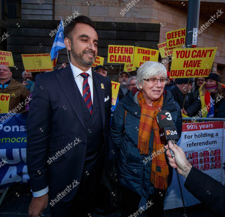 Former Catalan education minister Clara Ponsati (R) and her lawyer Aamer Anwar leave Edinburgh Sheriff Court in Edinburgh, Britain, 14 November 2019.  Ponsati was granted bail and allowed to keep her passport, according to media reports.