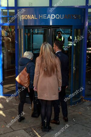 Former Catalan education minister Clara Ponsati (L) arrives to hand herself in at a police station in Edinburgh, Scotland, Britain, 14 November 2019. Spain submitted an extradition request for ponsati as she is charged with sedition after Catalonia's independence referendum in 2017.