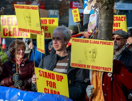 Suporters of former Catalan education minister Clara Ponsati await her arrival at a police station in Edinburgh, Scotland, Britain, 14 November 2019. Clara Ponsati handed herself to police after Spain submitted an extradition request for ponsati as she is charged with sedition after Catalonia's independence referendum in 2017.