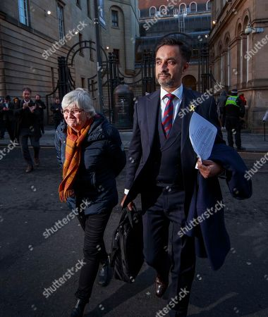 Former Catalan Education Minister Clara Ponsati and her lawyer Aamer Anwar (R) leave Edinburgh Sheriff Court in Edinburgh, Britain, 14 November 2019. Ponsanti was granted bail and allowed to keep her passport, according to medai reports.