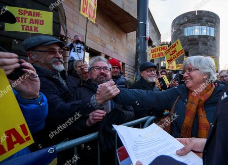 Former Catalan Education Minister Clara (2-R) Ponsati greets supportes as she leaves Edinburgh Sheriff Court in Edinburgh, Britain, 14 November 2019. Ponsanti was granted bail and allowed to keep her passport, according to medai reports.