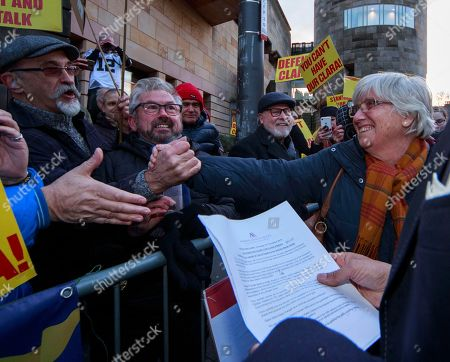 Former Catalan education minister Clara Ponsati (R) greets supportes as she leaves Edinburgh Sheriff Court in Edinburgh, Britain, 14 November 2019.  Ponsati was granted bail and allowed to keep her passport, according to media reports.