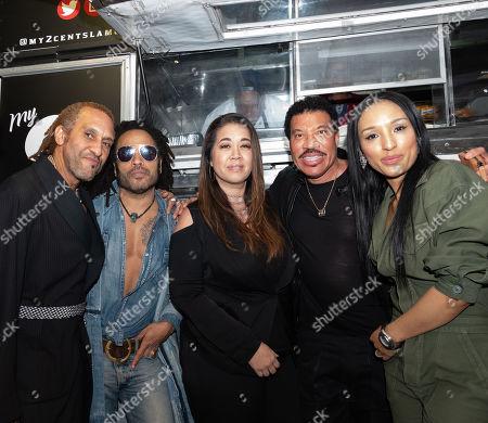 Stock Picture of Rodney Burns, Lenny Kravitz, Maya Burrell, Lionel Richie and Lisa Parigi