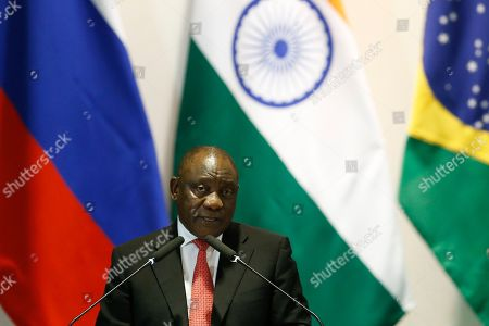 South Africa's President Cyril Ramaphosa speaks during the Leaders Dialogue with BRICS Business Council and the New Development Bank, at the Itamaraty Palace in Brasilia, Brazil