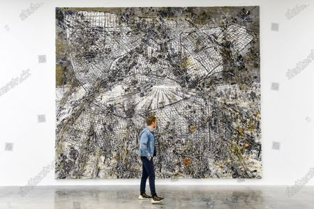 A visitor views 'Raum-Zeit', 2019, by Anselm Kiefer