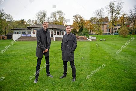 Peter Crouch and Chris Sutton on the pitch at the West of Scotland Cricket Club