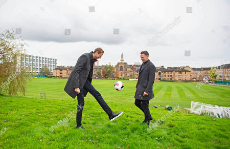Stock Photo of Peter Crouch and Chris Sutton on the pitch at the West of Scotland Cricket Club