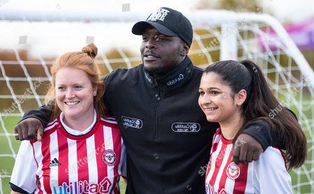 Utilita Kids & Girls Cup  Adebayo Akinfenwa, Charlotte Tanner and Nicole Goolab (r)