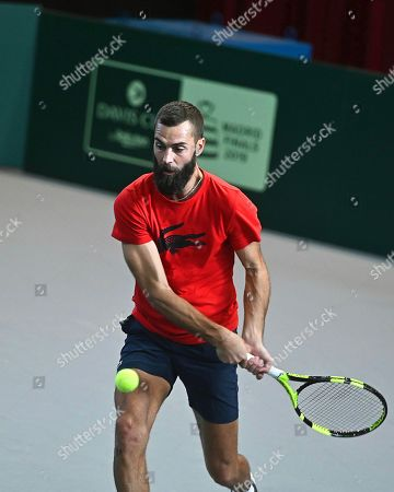 Stock Picture of Benoit Paire of France performs during a training session for the Davis Cup finals at the Caja Magica facilities in Madrid, Spain, 14 November 2019. The 2019 Davis Cup finals will take place from 18 to 24 November 2019 in Madrid.