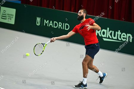 Stock Photo of Benoit Paire of France performs during a training session for the Davis Cup finals at the Caja Magica facilities in Madrid, Spain, 14 November 2019. The 2019 Davis Cup finals will take place from 18 to 24 November 2019 in Madrid.