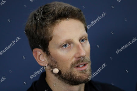 Haas driver Romain Grosjean, of France, speaks during a press conference ahead of Sunday's Formula One Brazilian Grand Prix, at the Interlagos racetrack in Sao Paulo, Brazil