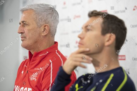 Switzerland's head coach Vladimir Petkovic (L) and Stephan Lichtsteiner (R) attend a press conference in St. Gallen, Switzerland, 14 November 2019. Switzerland will face Georgia in their UEFA EURO 2020 qualifying soccer match on 15 November 2019.