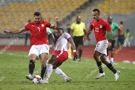Egypt's Ahmed Fathi (L) in action against Kenya PlayerMasika Ayubi during the Africa Cup of Nations qualifications (AFCON 2021) match Egypt vs Kenya in Borg Al Arab stadium, Alexandria, Egypt, 14 November 2019.