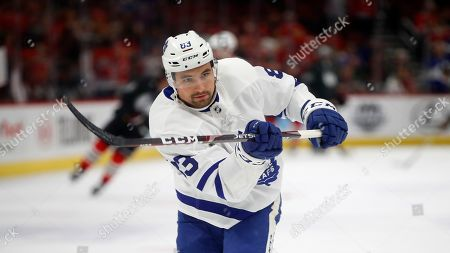 Toronto Maple Leafs' Cody Ceci before the start of NHL hockey game against the Chicago Blackhawks, in Chicago