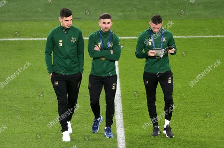 Republic of Ireland vs New Zealand. Ireland's John Egan, Sean Maguire and Alan Browne ahead of the game