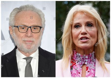 This combination of photos shows CNN's Wolf Blitzer at the WarnerMedia Upfront at Madison Square Garden in New York, left, and Counselor to the President Kellyanne Conway speaking to media outside the West Wing of the White House in Washington on July 25, 2019. Blitzer and Conway had a tense exchange Thursday when the anchor sought reaction to her husband's televised criticism of President Trump a day earlier