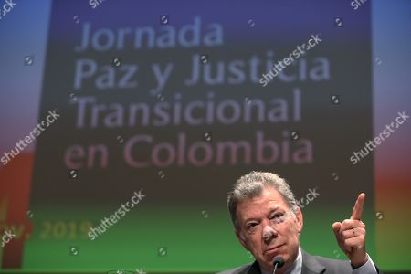 Former President of Colombia Juan Manuel Santos attends a colloquium on the implementation of peace agreements in Colombia held at the Fine Arts Circle in Madrid, Spain, 14 November 2019.