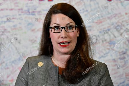 Kentucky Secretary of State Alison Lundergan Grimes speaks with reporters following the remcanvass of the Kentucky gubernatorial race in Frankfort, Ky., . Democrat Andy Beshear defeated incumbent republican Governor Matt Bevin by 5136 votes