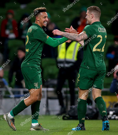 Republic of Ireland vs New Zealand. Ireland's Callum Robinson celebrates scoring a goal with James Collins