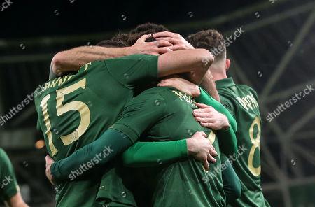 Republic of Ireland vs New Zealand. Ireland's Sean Maguire celebrates scoring their second goal with teammates