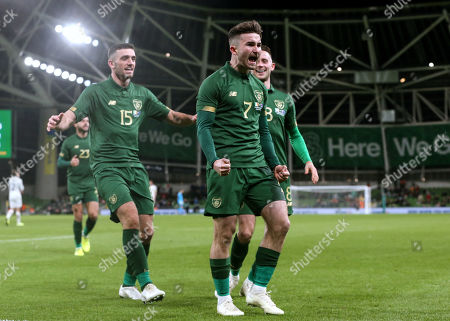 Republic of Ireland vs New Zealand. Ireland's Sean Maguire celebrates scoring their second goal with Alan Browne and Troy Parrott