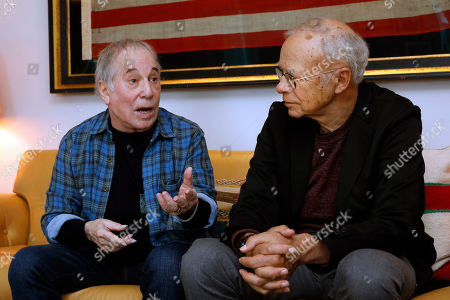 Singer-songwriter, Paul Simon, left, and Peter Singer, founder of The Life You Can Save, are interviewed in New York