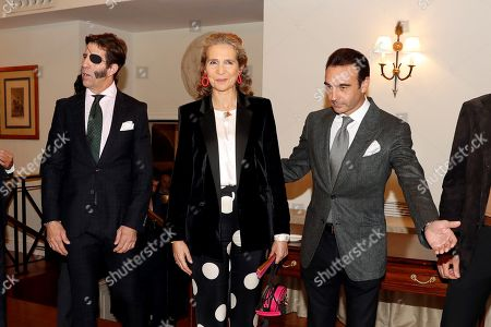 Spanish Infanta Elena (C), Spanish bullfighters Juan Jose Padilla (L) and Enrique Ponce (R) attend a ceremony in which Infanta Elena received the 'Capote de las Artes' award in Madrid, Spain, 14 November 2019. Infanta Elena received the award for her contribution on 'defending bullfighting'.