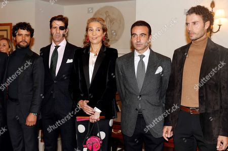 Spanish Infanta Elena (C), Spanish bullfighters Miguel Abellan, Juan Jose Padilla (2-L), Enrique Ponce (2-R) and Finito de Cordoba attend a ceremony in which Infanta Elena received the 'Capote de las Artes' award in Madrid, Spain, 14 November 2019. Infanta Elena received the award for her contribution on 'defending bullfighting'.