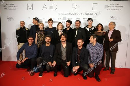 Marta Nieto (4-L, back) and film director Rodrigo Sorogoyen (5-R, back) attend the premiere of the movie 'Mother' at the Capitol Cinemas in Madrid, Spain, 14 November 2019. 'Mother' is based in the homonymous Sorogoyen's Oscar-nominated short film of 2018, which is part of the movie.