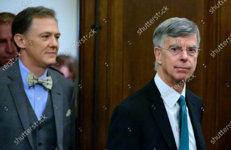 George Kent, Deputy Assistant Secretary for European and Eurasian Affairs, United States Department of State, left, and William B. Taylor, Chargé d'Affaires Ad Interim, Kiev, Ukraine, US Department of State, right, arrive to testifyduring the US House Permanent Select Committee on Intelligence public hearing as they investigate the impeachment of US President Donald J. Trump on Capitol Hill