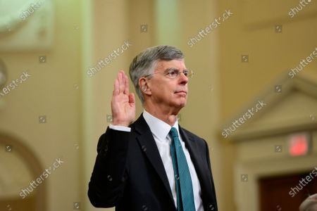 William B. Taylor, Chargé d'Affaires Ad Interim, Kiev, Ukraine, United States Department of State, is sworn-in to testify during the US House Permanent Select Committee on Intelligence public hearing as they investigate the impeachment of US President Donald J. Trump on Capitol Hill