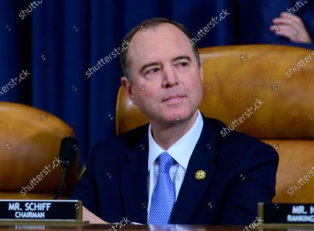 United States Representative Adam Schiff (Democrat of California), Chairman, US House Permanent Select Committee on Intelligence prior to calling the hearing to order where William B. Taylor, Chargé d'Affaires Ad Interim, Kiev, Ukraine, US Department of State and George Kent, Deputy Assistant Secretary for European and Eurasian Affairs, US Department of State, will testify during committee's public hearing as they investigate the impeachment of US President Donald J. Trump on Capitol Hill